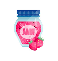 strawberry jam glass jar of berry confiture vector image vector image