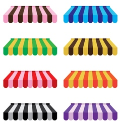 Colorful awning set isolated on white background vector