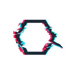 glitch distortion frame hexagon vector image vector image