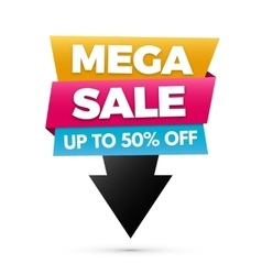 Mega sale banner Yellow blue and pink colors vector image vector image