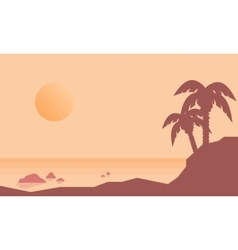 Silhouette of beach with palm landscape vector image vector image