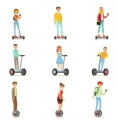 People riding electric self-balancing batery vector