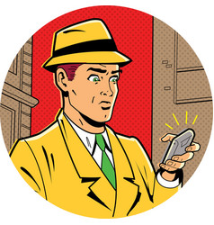 Retro Man With Fedotra and Phone vector image
