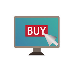 Shopping on pc on white backgroundbuy on pc sign vector