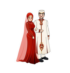 A couple bride and groom wearing muslim dress vector