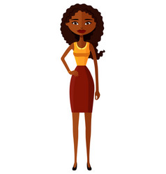 African american woman with natural curly hair vector