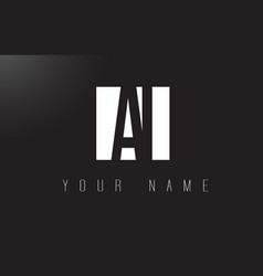 ai letter logo with black and white negative vector image