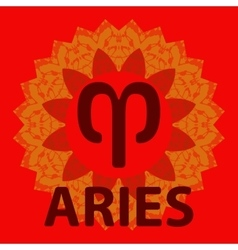 Aries Ram Zodiac icon with mandala print vector
