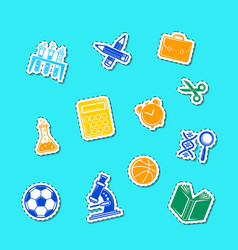 back to school stationery stickers set vector image