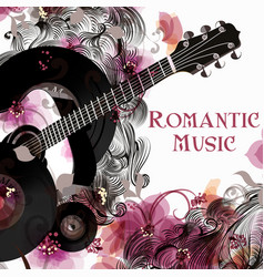 background with guitar and flowers party flayer vector image