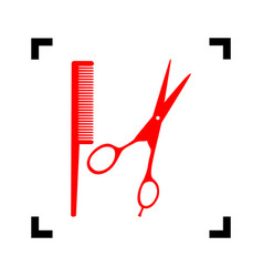 barber shop sign red icon inside black vector image