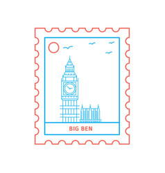 big ben postage stamp blue and red line style vector image