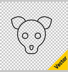 black line dog icon isolated on transparent vector image