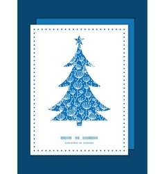 Blue white lineart plants Christmas tree vector