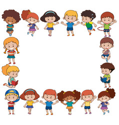 border template with happy children vector image