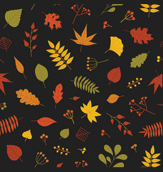 botanical seamless pattern with autumn tree leaves vector image