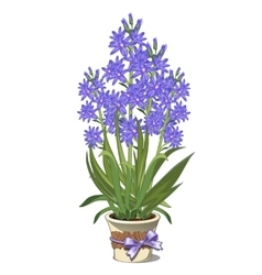 Bouquet of blue lilies in glass vase vector