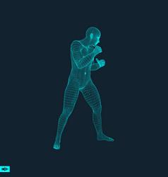 boxer fighting man 3d model of man sport symbol vector image