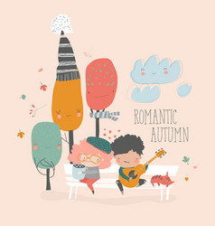 boy plays guitar for a girl in autumn park vector image