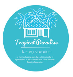 Bungalow with palm trees tropical apartment icon vector