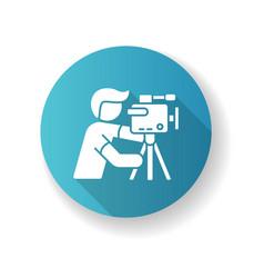 Cameraman blue flat design long shadow glyph icon vector