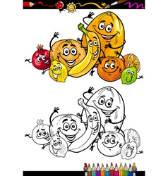 cartoon citrus fruits for coloring book vector image
