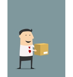 Cartooned flat businessman holding carton box vector image