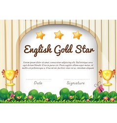 Certificate of English subject vector