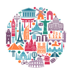 circle symbols icons world tourist attractions vector image