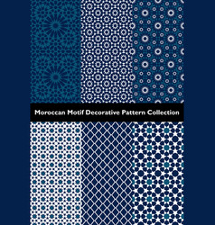 Collection blue moroccan motif tile patterns vector