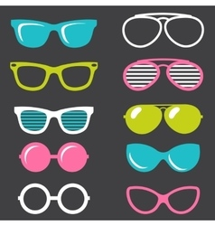 Colorful retro sunglasses set vector