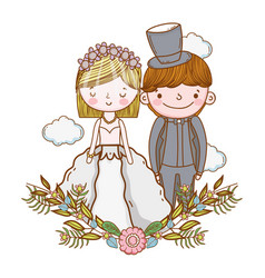 Couple marriage cute cartoon vector