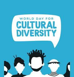 Cultural diversity card diverse people team vector