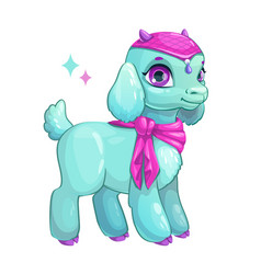 Cute cartoon little goat princess vector