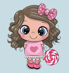 Cute girl in a dress and with lollipop vector