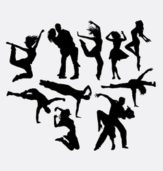 Dancing male female and couple silhouettes vector image