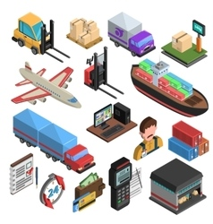 Delivery Types Isometric Icons Set vector