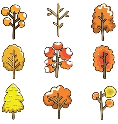 Doodle of autumn tree set vector