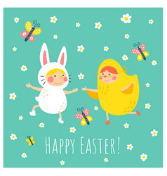 Easter bunny chicken vector