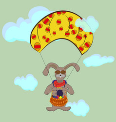 easter bunny flying on a parachute vector image