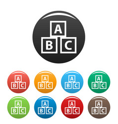 education abc blocks icons set vector image
