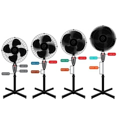 electric fan set for infographics and design vector image