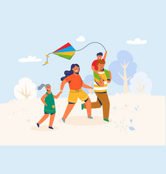 family in park launches kite characters vector image