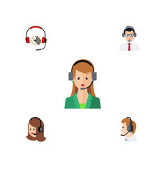 flat icon center set of secretary headphone vector image