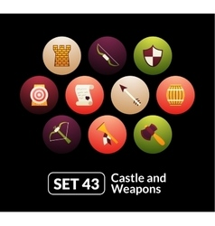 Flat icons set 43 - castle and wepon vector