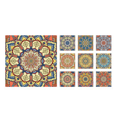 Flower tile blue yellow orange mandala vector