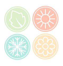 Four nature seasons circles vector