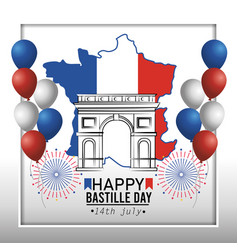france map with champs elyses and balloons vector image