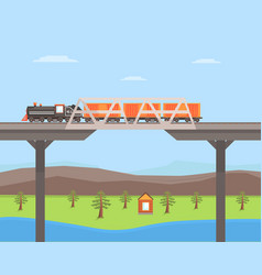 freight train moving on bridge rail vector image