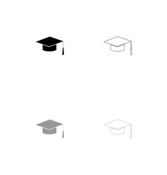 graduation cap black and grey set icon vector image